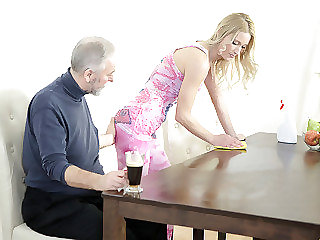 Old goes young guy makes Polina want him badly by sucking her tits